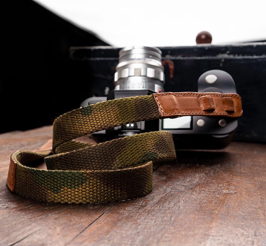NECKSTRAP  COTTON/LEATHER CAMOUFLAGE FOR LEICA SL AND LEICA S